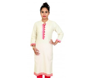 Solid Cream Color Standing Collar Kurti with Neck Embroidery