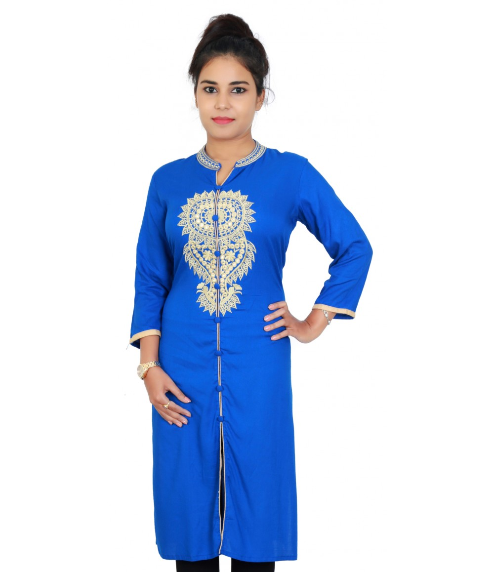 Solid Royal Blue Rayon Women Kurti with Neck Embroidery