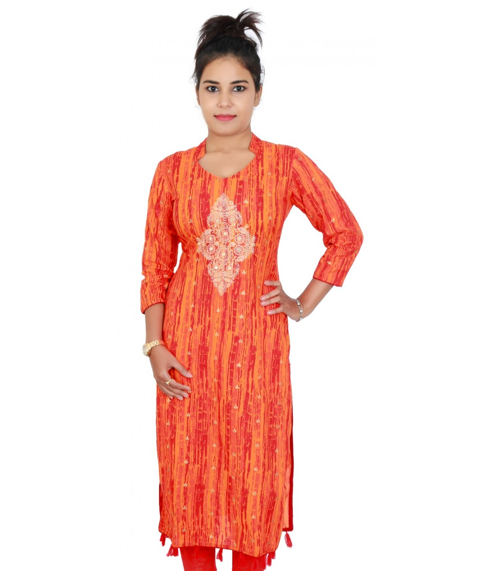 Designer V- neck Orange Color Kurti With Embroidery