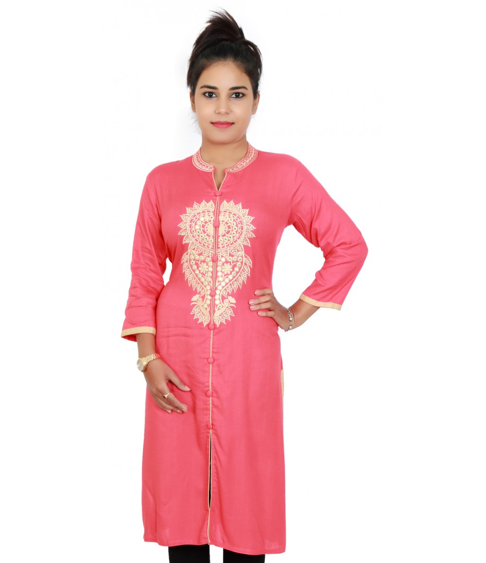 Solid Peach Color Embroidered Kurti With Standing Collar