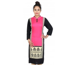 Rayon Pink Color Long Women Kurti With Standing Collar