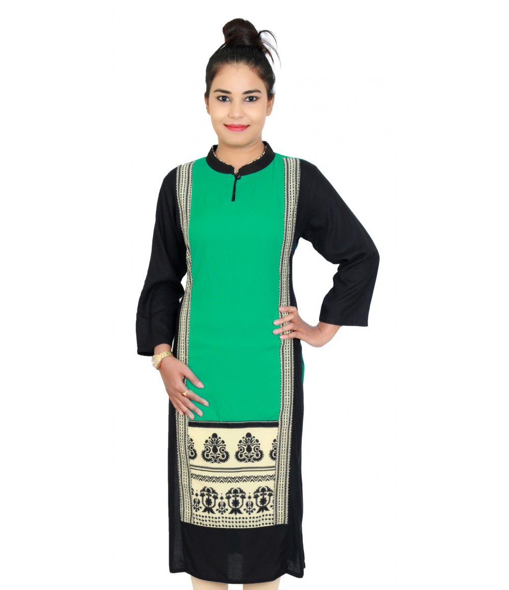 Rayon Solid Rama Green Long Women Kurti