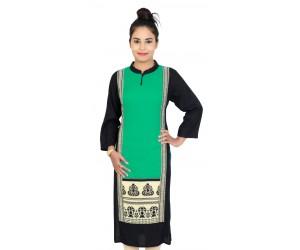 Rayon Solid Rama Green Long Women Kurti