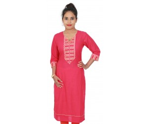 Cotton Slub Embroidered Peach Color Long Kurti