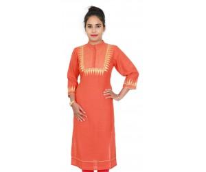 Orange Color Embroidered Cotton Women Kurti