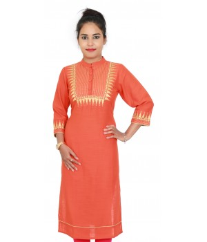 Orange Color Embroidered Cotton Women Kurti