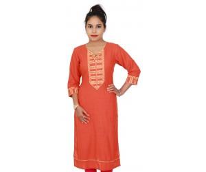 Cotton Slub Orange Colored Long Casual Kurti With Embroidery