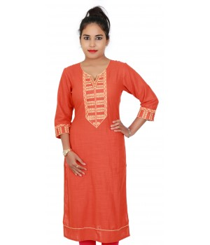 Cotton Slub Orange Colored Long Casual Kurti With Embroidery