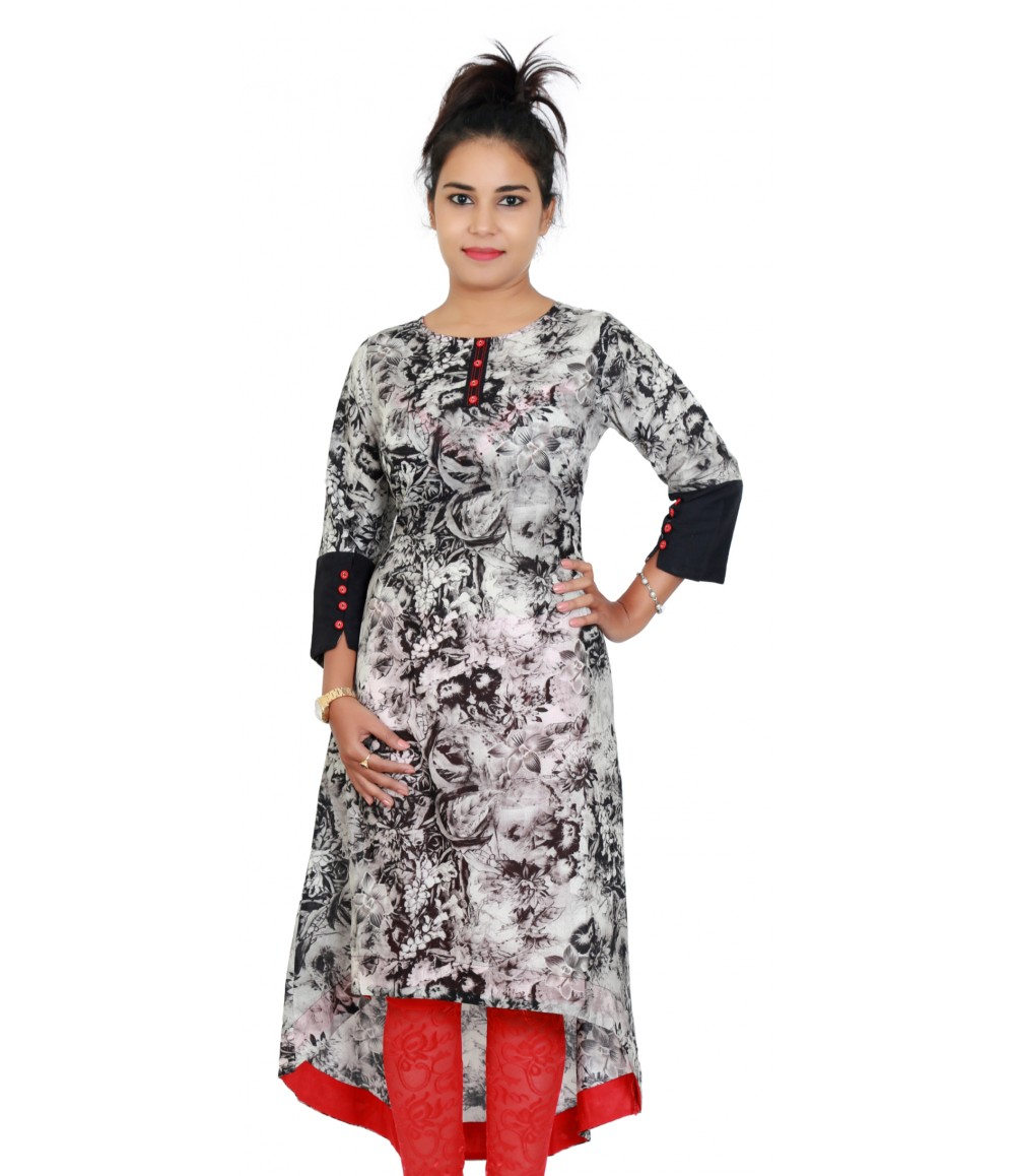 Long Grey Color Round Neck Designer Kurti With Up and Down Pattern