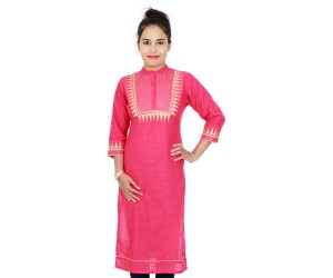 Casual Pink Color Kurti With Standing Collar