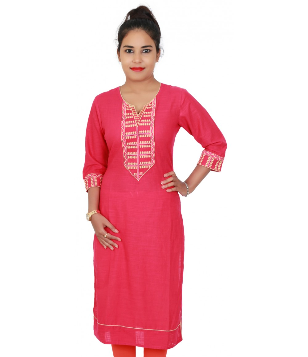 Cotton Pink Embroidered Round Notch Neck Kurti