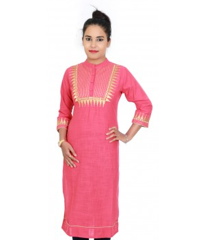 Cotton Peach Standing Collar Kurti With Golden Work