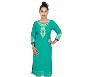 Long Rama Green With Round Neck Kurti