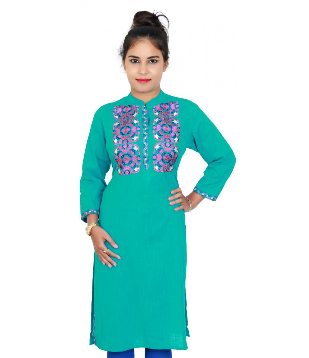 Cotton Slub Rama Green Kurti With Standing Collar