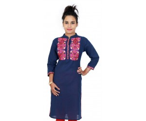 Long Navy Blue With Embroidery Casual Kurti