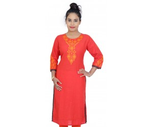 Red Round Neck Embroidered Women Kurti