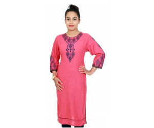 Cotton Pech Color Embroidered Kurti For Women