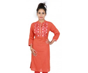 Cotton Embroidered Orange Office Wear Kurti