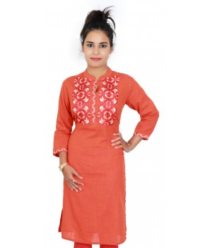 Cotton Embroidered Orange Office Wear Kurti