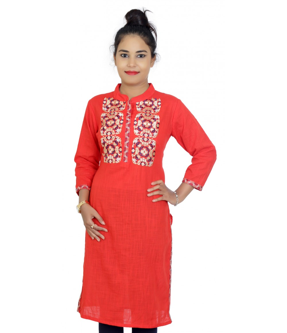 Red Cotton Embroidered Pattern Women Kurti