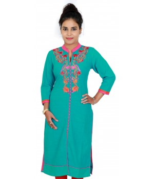 Green Cotton Standing Collar Embroidered Kurti