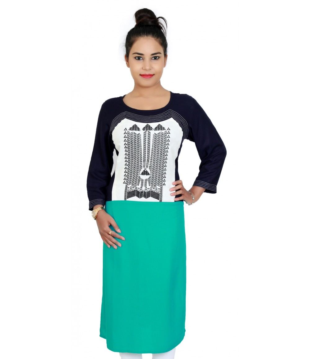 Casual Navy & Green Colored Printed & Embroidered Kurti