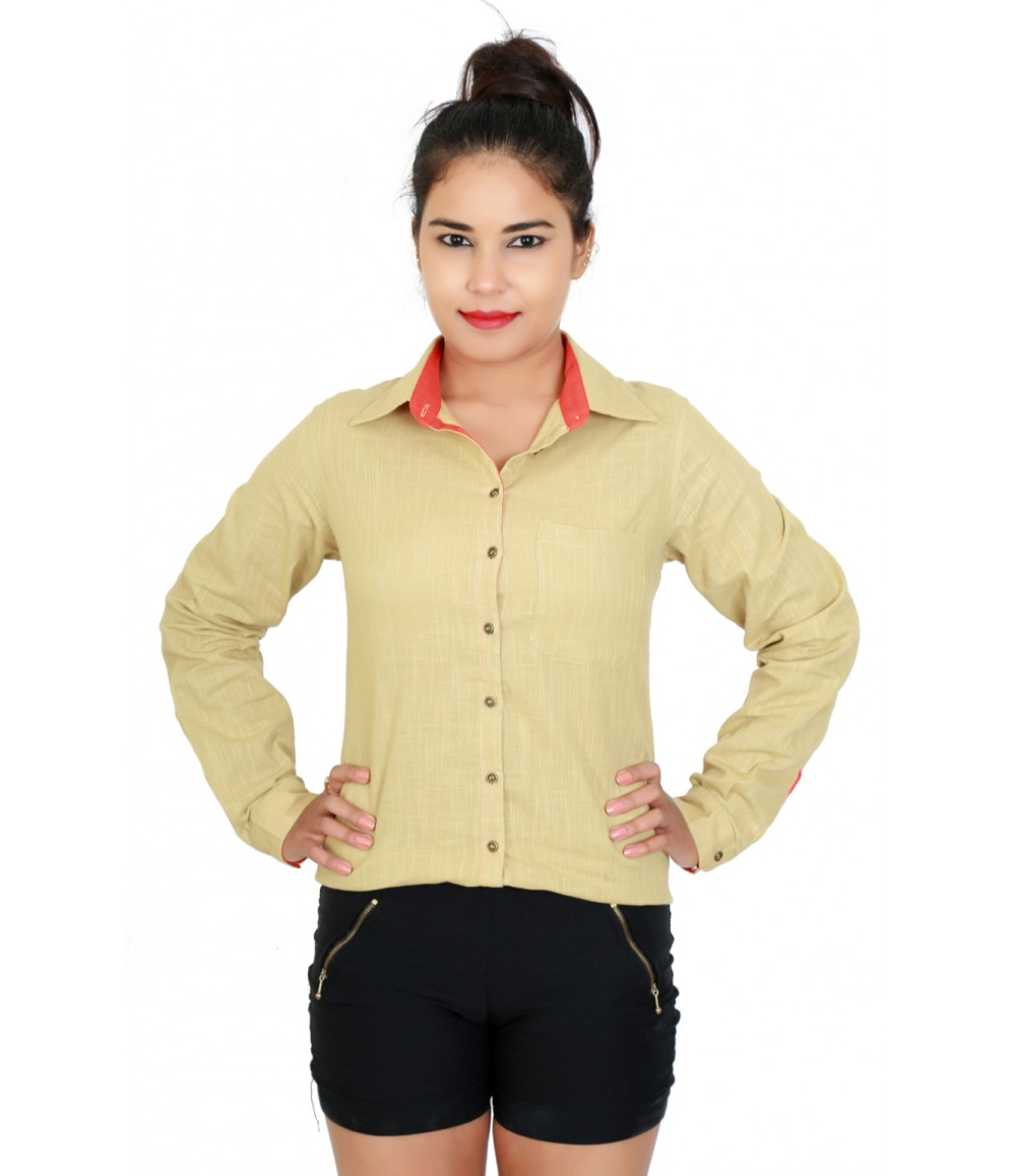 Solid beige color Casual Shirt with Shirt collar