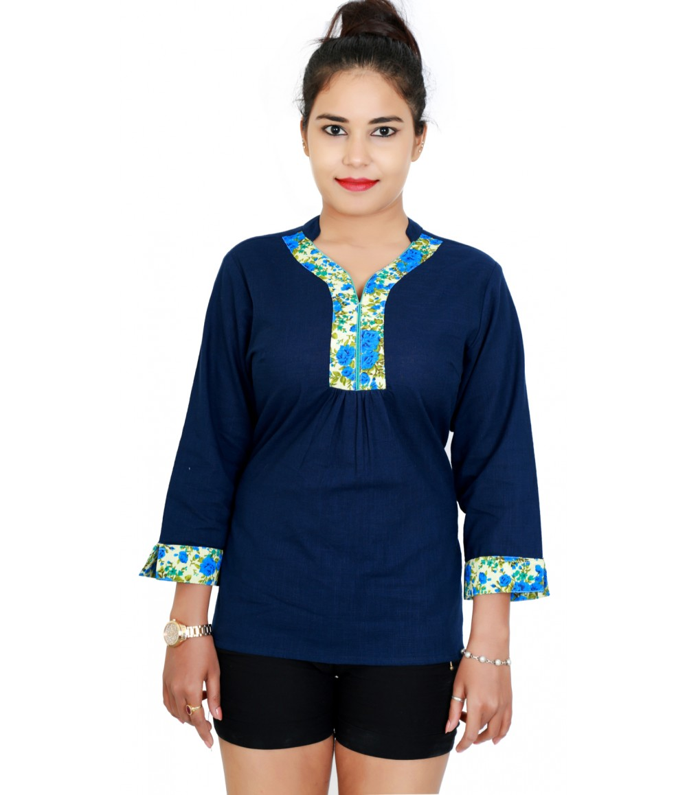 Solid Navy Top With Contrast Flower Trim