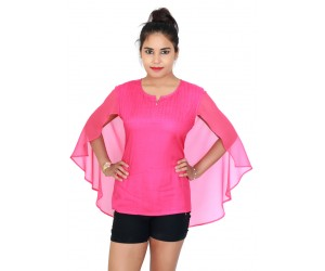 Solid Pink Top With Georgette Back Flared Cap