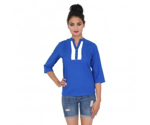 Royal Blue Cotton Top With Standing collar