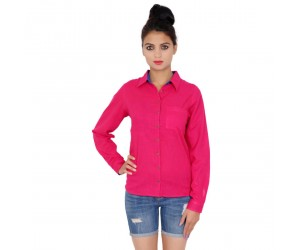 Solid Pink Full Sleeve Cotton Shirt For Girls