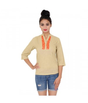 Plain Beige Color Cotton Top For Girls With Standing Collar