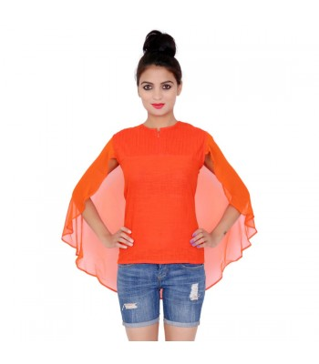 Solid Orange Color Flared Cap Style Top With Round Neck