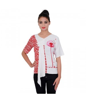 Printed Rayon Red Color V-Neck Top For Women
