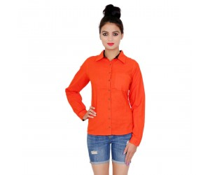 Solid Full Sleeves Orange Color Shirt Style Top For Womens