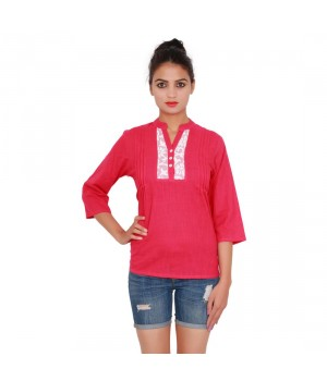 Solid Pink Color Cotton Top With Standing Collar