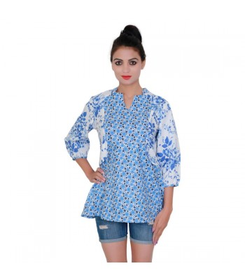 Blue And White Printed Top For Girls With Round Neck