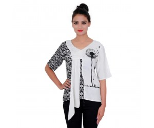 Printed Black Rayon V- Neck Top For Women