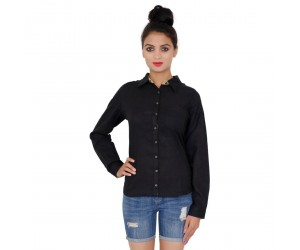 Full Sleeves Cotton Black Shirt For Women