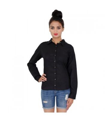 Full Sleeves Cotton Black Shirt For Women