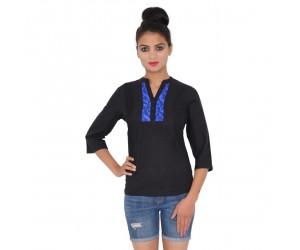 Solid Black Casual Wear Cotton Women Top
