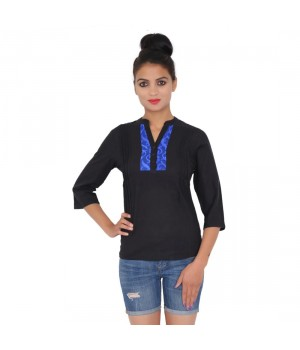 Solid Black Casual Wear Cotton Women Top