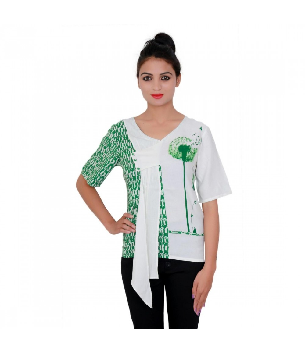 White and Green Printed Rayon Women Top