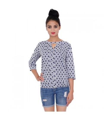 Blue Printed Designer Top With Round Neck