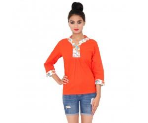 Orange Color Plain dyed Cotton Women Top