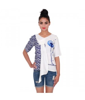 Printed Blue And White V- Neck Women Top