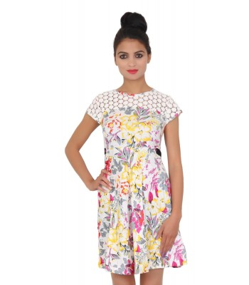 Designer Round Neck Floral Print Dress
