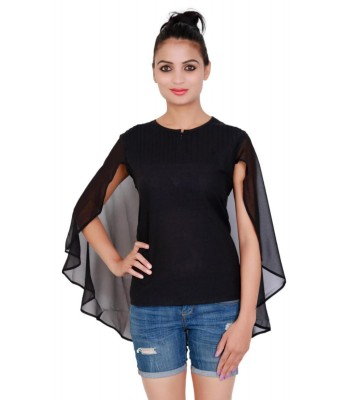 Plain Round Neck Cape Style Black Women Top