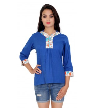 Casual Cotton Blue Color Women Top