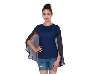 Solid Blue Color Cape Style Top With Round Neck